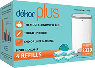 Dekor Plus Diaper Pail Biodegradable Refills   4 Count   Most Economical Refill System   Quick and Simple to Replace   No ...