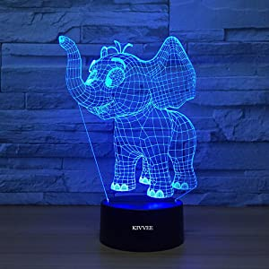 Visual 3D Lamp Elephant Toys 2D Night Light Touch W/USB Cable Birthday Christmas Gift for Boys Kids Adult Acrylic Table Furniture Decorative Colorful 7 Color Change Household Accessories
