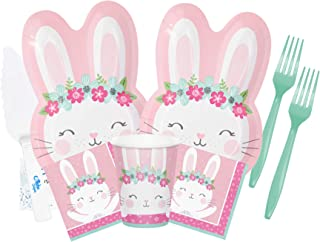 Bunny Birthday Party Supplies - Some Bunny Is One Party Supplies - Bunny Party Plates and Napkins Cups Forks for 16 People...