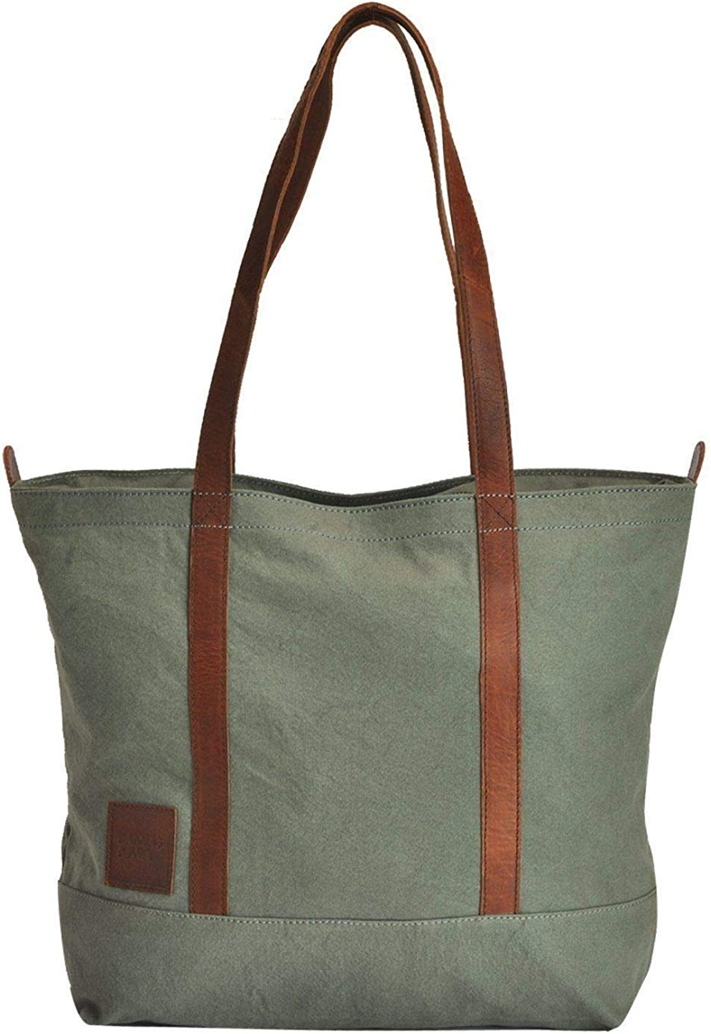 Canvas & Awl Grey 12oz Canvas With Genuine Buff Leather Trim Ladies Tote Bag