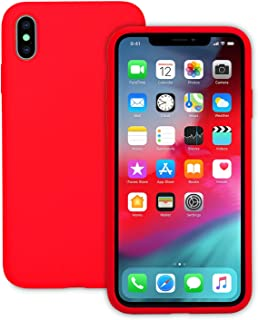 IVSUN Case for iPhone Xs Max 6.5-Inch Liquid Silicone 360 Full Protection Rubber Gel Cover Slim [ Anti-Fingerprint ] [ Scratch-Resistance ] [ Smooth Touch Feeling ] - Red