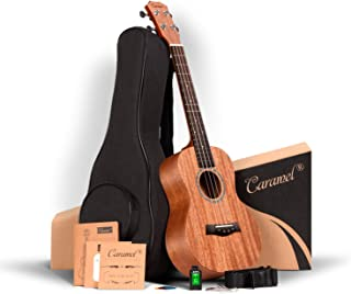 ALL SOLID MAHOGANY WOOD ! Tenor Ukulele Caramel 26 inch Professional ukulele Instrument Kit Small Hawaiian Guitar ukalalee Pack Bundle Gig bag, Digital Tuner, Strap, Strings Set