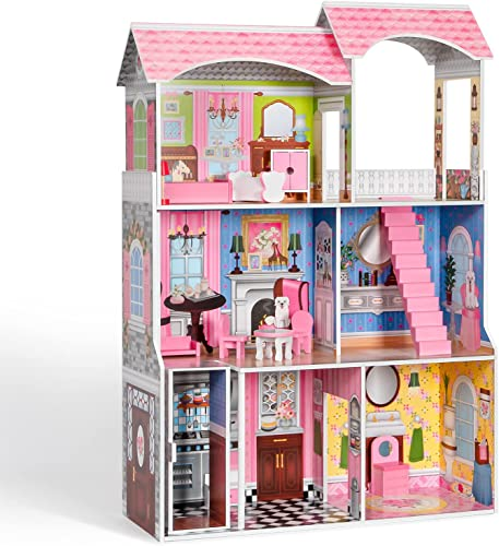 ROBUD Wooden Dollhouse for Kids with Elevator Furniture 3.8ft Tall 5 Rooms 3-Storey Play Toy Dollhouse for Girls