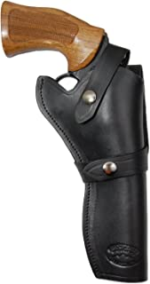 Barsony New Black Leather Western Style Gun Holster for 6 inch Revolvers