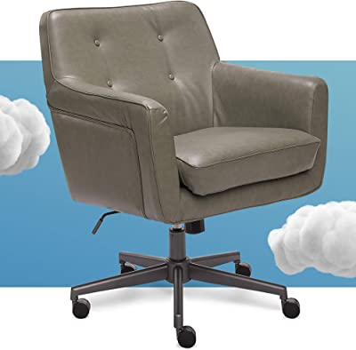 Amazon Com Serta Ashland Home Office Upholstered Chair With Mid Century Modern Design Bonded Leather Gray Furniture Decor