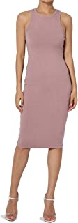 Square Neck Elbow Short Sleeve Rib Knit Fitted Bodycon Midi Dress