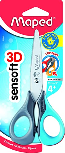 Maped - Ciseaux Enfants Gauchers avec Anneaux Souples et Ergonomie 3D - Ciseaux Scolaires Sensoft 13 cm dès 4 Ans - P...