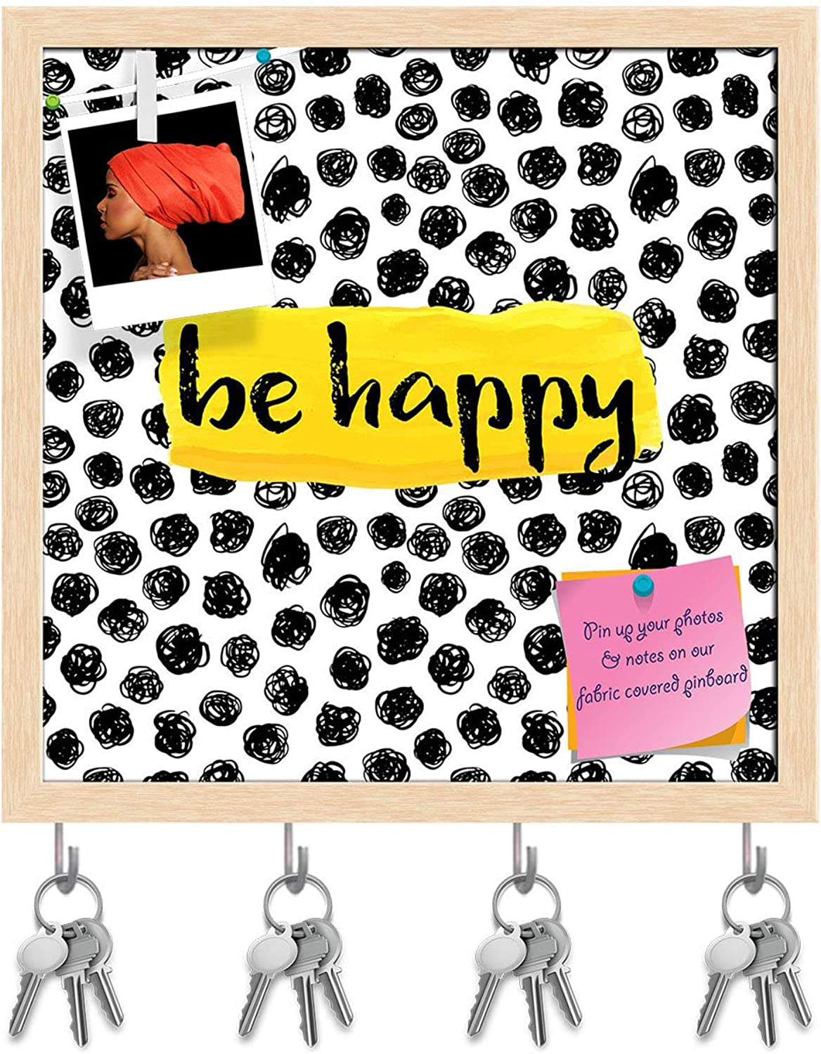 Artzfolio Be Happy D2 Key Holder Hooks   Notice Pin Board   Natural Brown Frame 20 X 20Inch