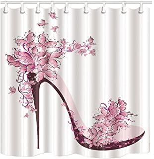 KOTOM Girly Decor Shower Curtain, Pink Butterfly and High Heels Shoe, Polyester Fabric Bath Curtains Set with Hooks 69W X 70L Inches