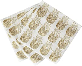 Talking Tables Tropical Party Gold Pineapple Paper Napkins for a Luau, Summer Party or Birthday, Gold (20 Pack)