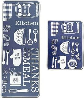 Leebei Kitchen Rugs Non Slip Washable Navy/Dark Blue Water-Absorbent Anti-Slip Floor Mats for Kitchen Bedroom,Anti-Fatigue Rugs Carpet (15.7×23.6 inch+15.7×47.2 inch,Kitchen-Meal)