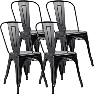 JUMMICO Metal Dining Chair Stackable Indoor Outdoor Industrial Vintage  Chairs Bistro Kitchen Cafe Side Chairs