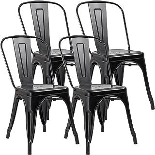 JUMMICO Metal Dining Chair Stackable Indoor-Outdoor...
