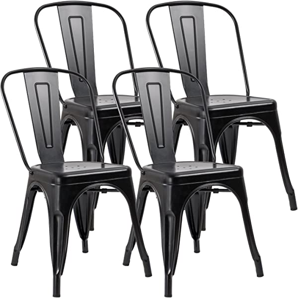 JUMMICO Metal Dining Chair Stackable Indoor Outdoor Industrial Vintage Chairs Bistro Kitchen Cafe Side Chairs With Back Set Of 4 Black