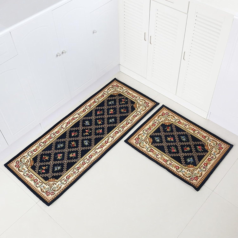 European plaid flower kitchen mat Water absorbent non-slip mat Kitchen oil-proof mat Door mat home-C 45x150cm(18x59inch)