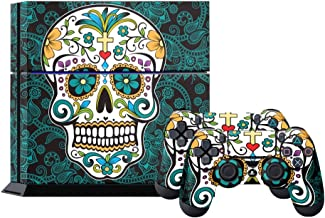 PS4 Console Designer Skin for Sony PlayStation 4 System plus Two(2) Decals for: PS4 Dualshock Controller Sugar Skully