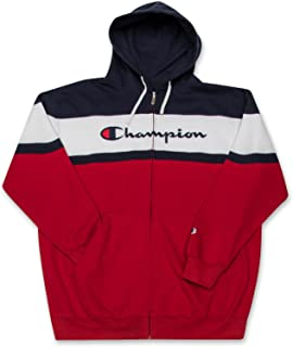 Big and Tall Mens Color Block Full Zip Hoodie with Embroidered Logo