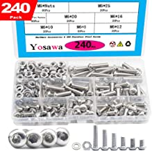 Yosawa 240Pcs M6 Screws Hex Socket Button Head Cap Bolts Flat and Nuts Washers Assortment Kit,304 Stainless Steel (MGM6)