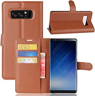 Shamo's Wallet Case for Galaxy Note 8 Premium Folio Cover PU Leather [Kickstand Function and Card Holder Slot] Folio Flip Samsung Galaxy Note8 (Brown)