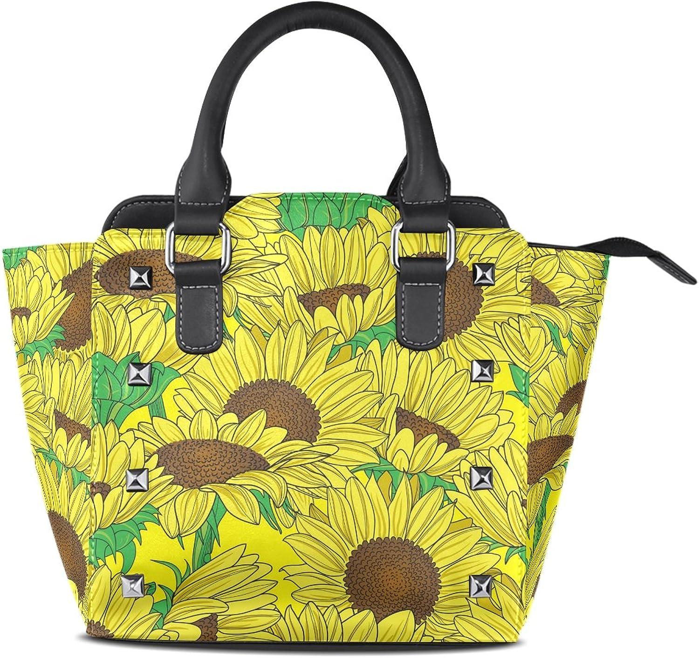 Sunlome Yellow Sunflowers Print Handbags Women's PU Leather Top-Handle Shoulder Bags
