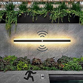 LED Extérieures Terrasse Appliques avec Détecteur De Mouvement, Moderne Étanche Longue Applique Barre Lumineuse Noire Méta...