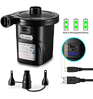 Rechargeable Air Pump, Dr.meter HT-420 Portable Electric Air Pump Quick-Fill Inflator Deflator Air Mattress Pump (Rechargeable Air Pump)