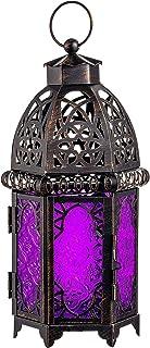 DECORKEY Vintage Candle Lantern, Moroccan Style Decorative Hanging Lantern, Metal Tabletop Lantern, Halloween Candle Holde...