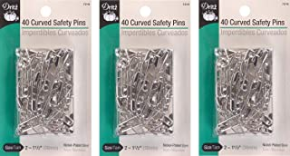 Dritz Size 2 Curved Safety Pins are just The Right Angle for Easy Penetration of Quilt Layers with No Shifting. Size 2 is Recommended for high loft Batting. Nickel-Plated Steel, 40 Ct. (3 Pack)