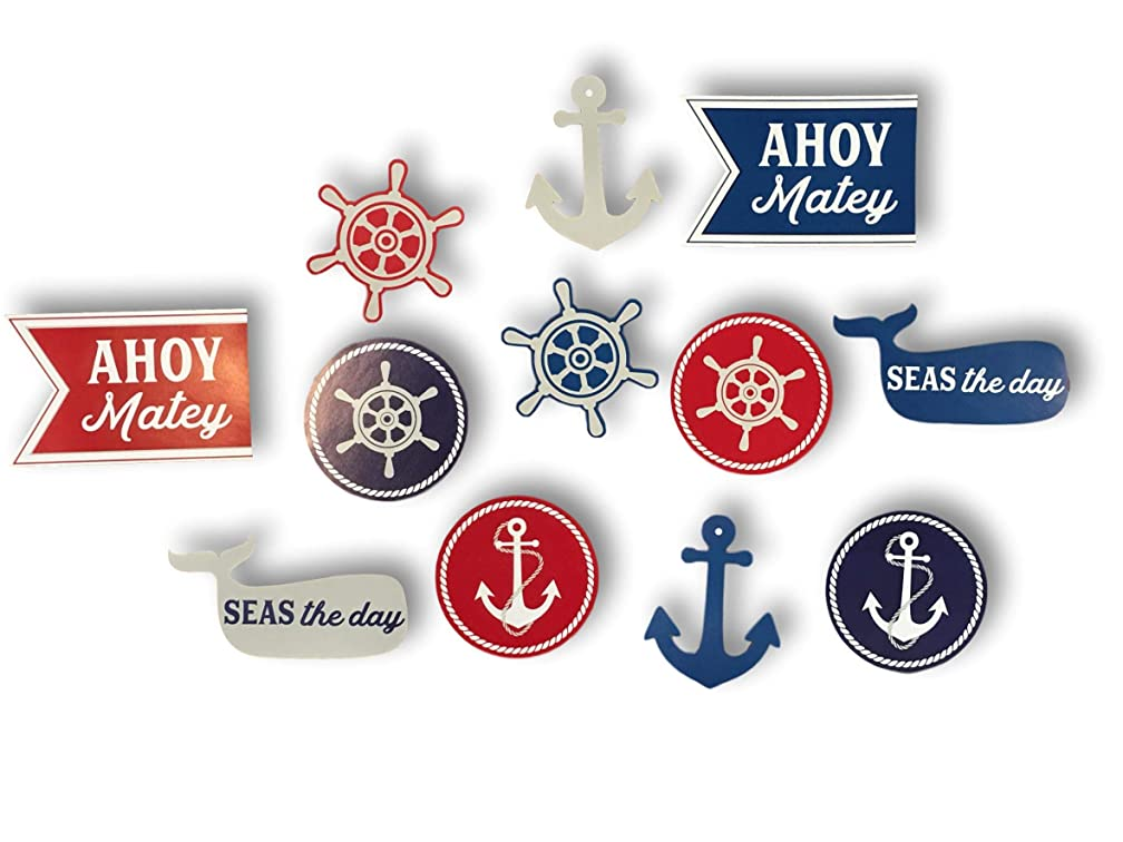Plum Nellie's Treasures Nautical Decoration Party Cutouts 12 Count - Ahoy Matey, Anchors, Seas The Day Whale & Ship's Wheel