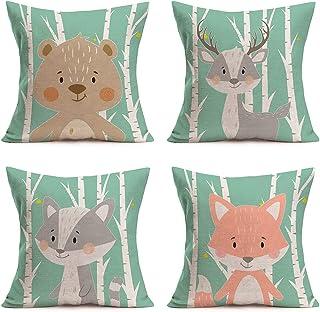 YANGYULU 4Pcs Throw Pillow Covers Adorable Forest Cartoon Animals Cotton Linen Cute Baby Brown Bear Elk Raccoon Fox Print ...
