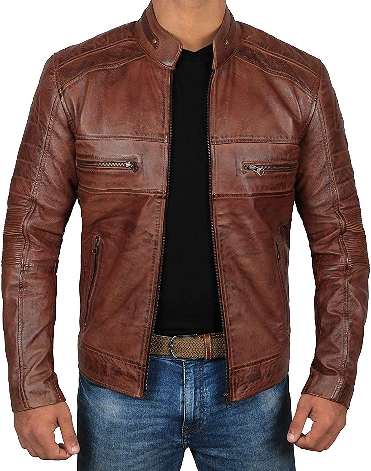 Brown Leather Jacket Mens - Dis Ranking TOP19 Racer Lambskin Cafe 5 ☆ popular Real