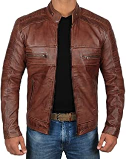 283bae2ddca Brown Leather Jacket Mens - Cafe Racer Real Lambskin Leather Distressed Motorcycle  Jacket