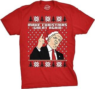 Mens Make Christmas Great Again Trump In Santa Hat Funny Ugly Xmas T shirt