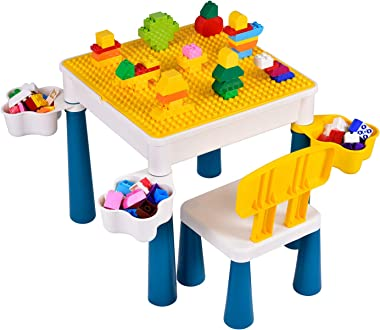Kids Activity Table Multi-Functional Building Blocks Learning Table Children's Fight Block Building Blocks Game Table Chi
