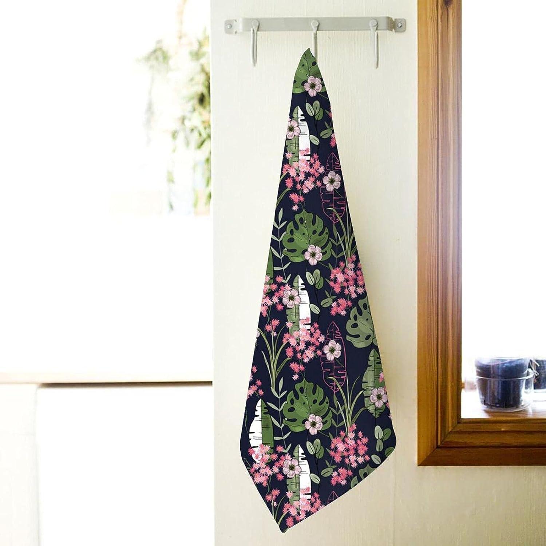 Bath Towel Tropical Art Exotic Selling rankings Tree Kansas City Mall Plush Sup Flowers and Leaves