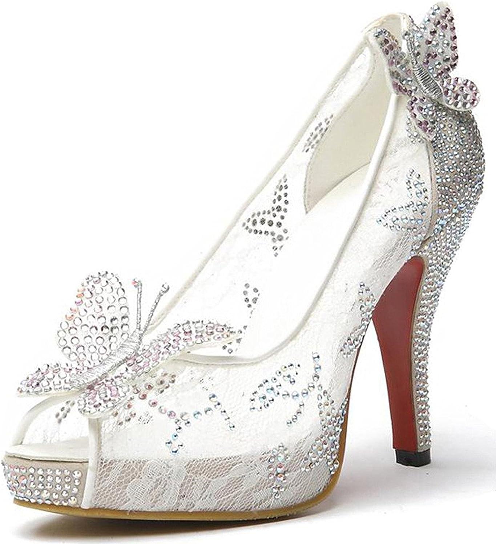 Hihihappy FashionPumps Crystal Stud Bridal High Heels Rhinestone Evening Party Dress Heel Pump