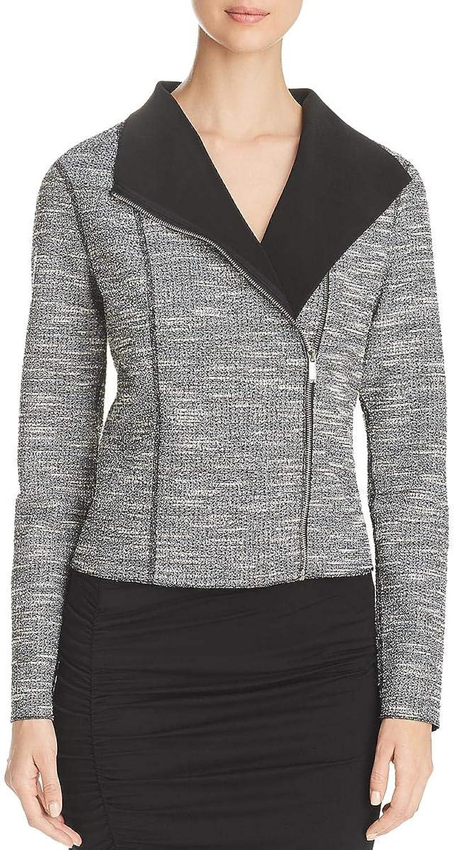 Three Dots Womens Tweed Spring Moto Coat