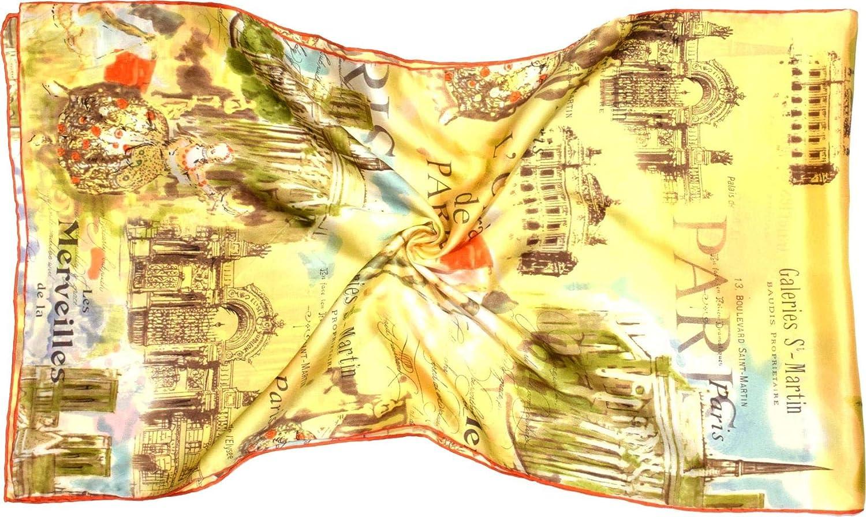 Yellow orange Paris Printed Long Silk Scarf