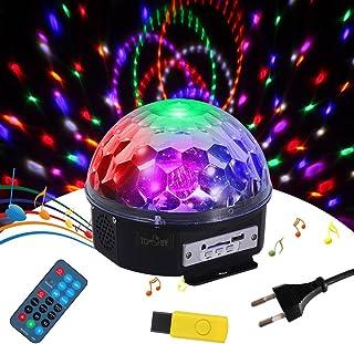 Bola Discoteca RGBW,Tomshine Mini Bola Giratoria Mágica LED Efecto de Luz,Sonido Activado/Auto Run/Remoto Control/Altavoces Duales perfecto para Disco,Escenario,Show,KTV,Fiesta,Bar