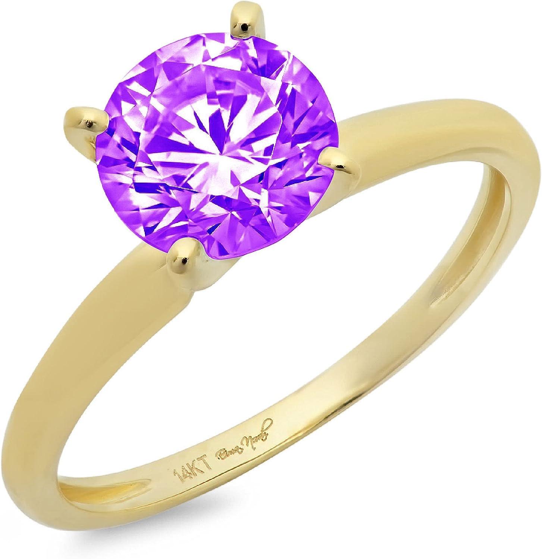 Clara Pucci 1.50 ct Brilliant Arlington Mall OFFicial shop Solitaire Cut Purple Natural Round