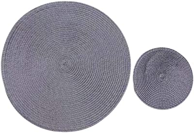 Lala shopping 2 Pieces Round Placemat Hand-Woven Spiral Pattern Non-Slip Insulated Table Mat 7.1'' & 15''(Grey)