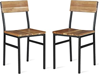 Novogratz Linden Wood and Metal, Natural, Gray (2-Pack) Dining Chairs,