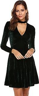 Women's Chocker V-Neck Velvet Vintage Swing Dress