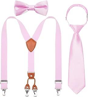 Kids Boys Suspenders Bowtie Necktie - Adjustable Elastic Y shape Strong Clips Suspenders Set for Boys and Girls