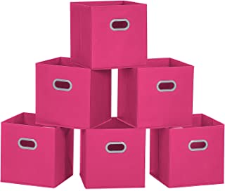 MaidMAX Cloth Storage Bins Cubes Baskets Containers with Dual Plastic Handles for Home Closet Bedroom Drawers Organizers, Flodable, Fuchsia, Set of 6