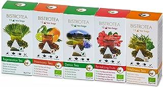 Bio Teebeutel, 5er Collection - Früchtetee, Kräutertee, Schwarztee Earl Grey, Grüntee Zitronengras & Grünte Sencha 75 Teebeutel 142,5 g