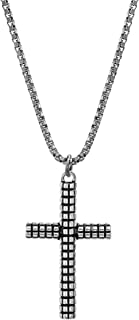 Textured Oxidized Stainless Steel Cross Necklace For Men...