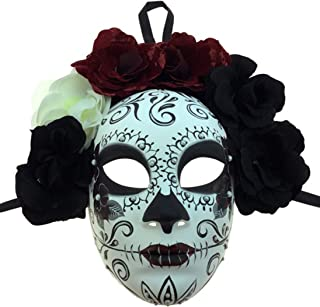 KBW Adult Unisex Female Day of Dead Full Face Mask with Rose Flower Crown, Sugar Skull Multicolored One Size Mexican Spanish Tradition Halloween Costume Accessory