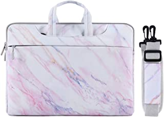MOSISO Laptop Shoulder Bag Compatible with 13-13.3 inch MacBook Pro, MacBook Air, Notebook Computer, Canvas Cross Grain Marble Carrying Briefcase Sleeve Case
