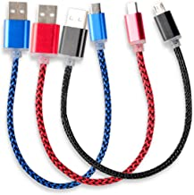 HTTX [3-Pack] 8 inch Micro USB Cable, USB 2.0 A Male to Micro B, Nylon Braided Sync & Charging Cable Cord for Android Phones, Samsung, HTC and More (Red/Blue/Black)